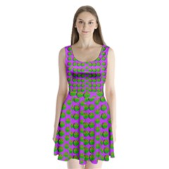 The Happy Eyes Of Freedom In Polka Dot Cartoon Pop Art Split Back Mini Dress