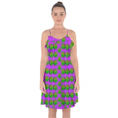 The Happy Eyes Of Freedom In Polka Dot Cartoon Pop Art Ruffle Detail Chiffon Dress
