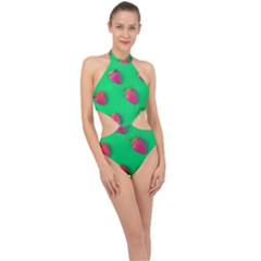Strawberry Green Halter Side Cut Swimsuit by WensdaiAddamns