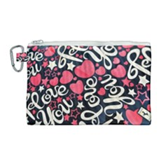 <3 I Love You <3 Canvas Cosmetic Bag (large)