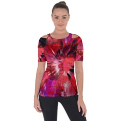 Super Splash Shoulder Cut Out Short Sleeve Top