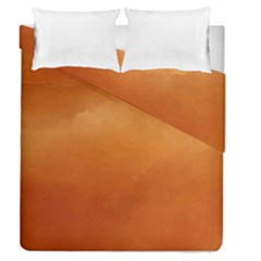 Orange Watercolor Duvet Cover Double Side (queen Size)