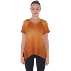 Orange Watercolor Cut Out Side Drop Tee