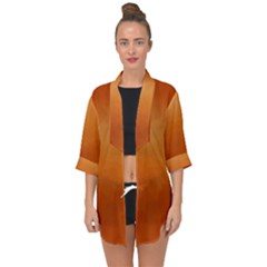 Orange Watercolor Open Front Chiffon Kimono