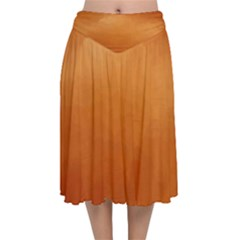 Orange Watercolor Velvet Flared Midi Skirt
