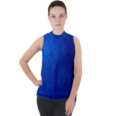 Amazing Blue Mock Neck Chiffon Sleeveless Top
