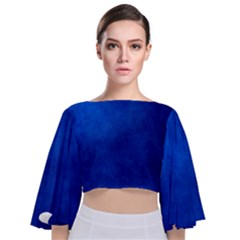 Amazing Blue Tie Back Butterfly Sleeve Chiffon Top