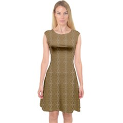 Circle Chic Brown Capsleeve Midi Dress