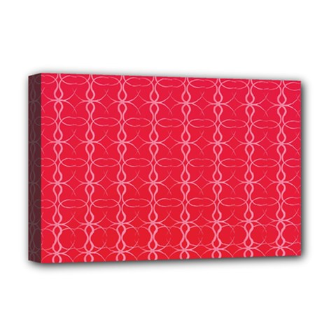 Circle Chic Red Deluxe Canvas 18  X 12  (stretched)