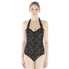 Abstract In Black And Gold Halter Swimsuit