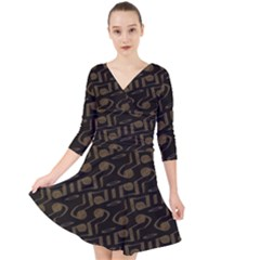 Abstract In Black And Gold Quarter Sleeve Front Wrap Dress