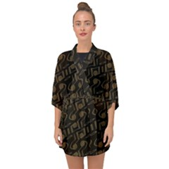 Abstract In Black And Gold Half Sleeve Chiffon Kimono