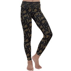 Abstract In Black And Gold Kids  Lightweight Velour Classic Yoga Leggings