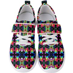 Colorful Bright Seamless Flower Pattern Men s Velcro Strap Shoes