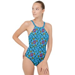 Beautyfull Flowers High Neck One Piece Swimsuit