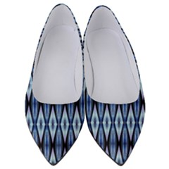 Blue White Diamond Pattern Women s Low Heels