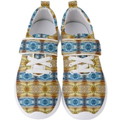 Gold And Blue Elegant Pattern Men s Velcro Strap Shoes