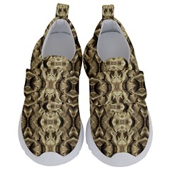 Gold Fabric Pattern Design Kids  Velcro No Lace Shoes