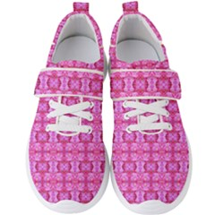 Pretty Pink Flower Pattern Men s Velcro Strap Shoes