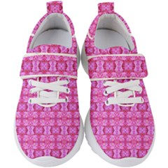 Pretty Pink Flower Pattern Kids  Velcro Strap Shoes