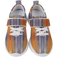 Gray Orange Stripes Painting Kids  Velcro Strap Shoes by Costasonlineshop