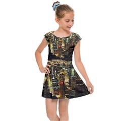 Night Life In Chicago Kids  Cap Sleeve Dress