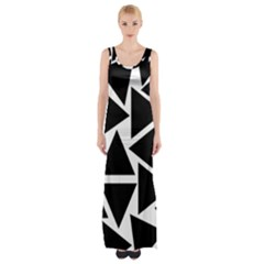 Black Triangles Maxi Thigh Split Dress