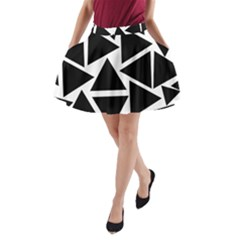 Black Triangles A-line Pocket Skirt by TimelessFashion