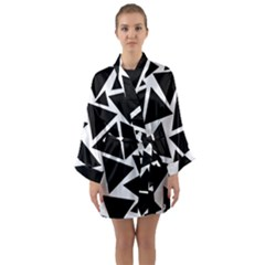 Black Triangles Long Sleeve Kimono Robe