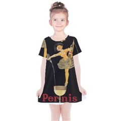 Lady Pouring Champagne  Kids  Simple Cotton Dress