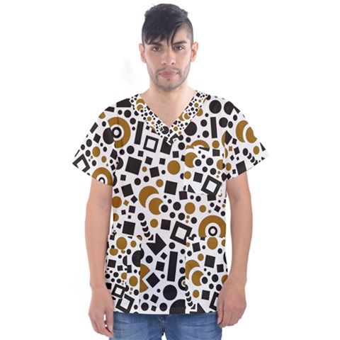 Black Versus Brown Men s V-neck Scrub Top by TimelessFashion