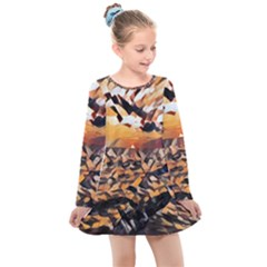 Sunset On The Sea Kids  Long Sleeve Dress