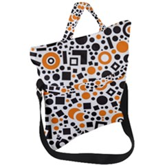 Black Versus Orange Fold Over Handle Tote Bag by TimelessFashion