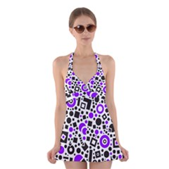 Black Versus Purple Halter Dress Swimsuit