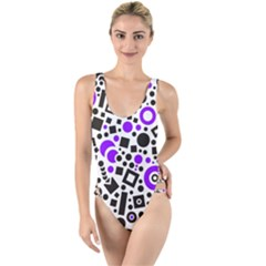 Black Versus Purple High Leg Strappy Swimsuit by FEMCreations