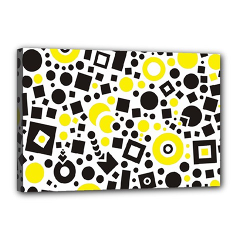 Black Versus Yellow Canvas 18  X 12  (stretched)