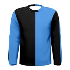 Black Blue Men s Long Sleeve Tee by TimelessFashion