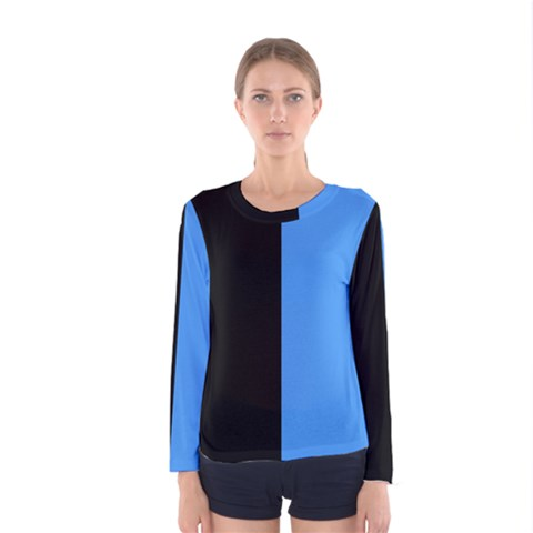 Black Blue Women s Long Sleeve Tee by TimelessFashion
