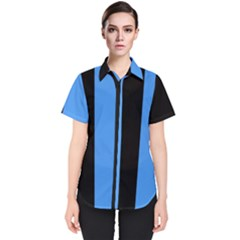Black Blue Women s Short Sleeve Shirt