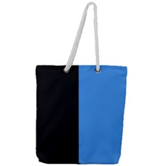 Black Blue Full Print Rope Handle Tote (large) by TimelessFashion