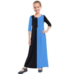 Black Blue Kids  Quarter Sleeve Maxi Dress by TimelessFashion