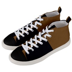 Black Brown Men s Mid Top Canvas Sneakers by TimelessFashion