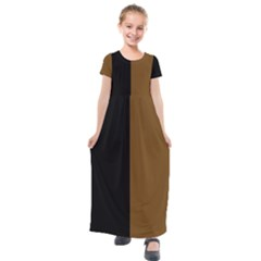 Black Brown Kids  Short Sleeve Maxi Dress by TimelessFashion