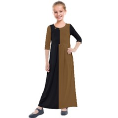 Black Brown Kids  Quarter Sleeve Maxi Dress by TimelessFashion