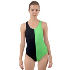 Black Green Cut-out Back One Piece Swimsuit by TimelessDesigns