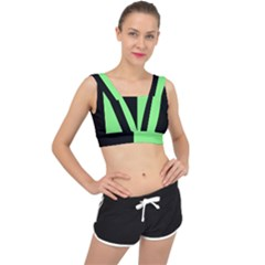 Black Green V Back Sports Bra