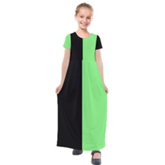 Black Green Kids  Short Sleeve Maxi Dress by TimelessFashion