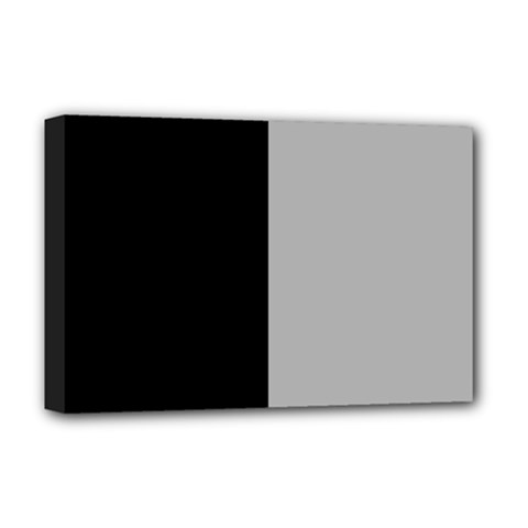 Black Grey Deluxe Canvas 18  X 12  (stretched) by TimelessDesigns
