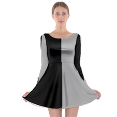Black Grey Long Sleeve Skater Dress by TimelessFashion