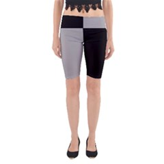 Black Grey Yoga Cropped Leggings by TimelessFashion